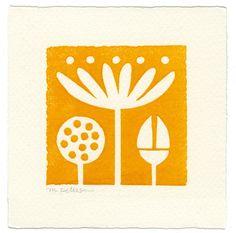 Lotus - linoleum block print. By letterpresshabitat