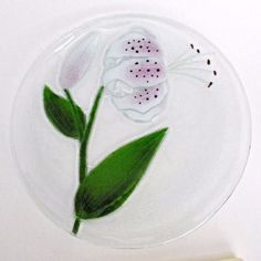 f2b98d77ce71 Handcrafted Fused Art Glass Plate Lily 11.3
