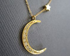 Star Necklace Gold plated Crescent moon necklace I love by Muse411