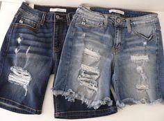 "2 Pairs Kan Can 26"" Shorts Womens Denim Estilo Distressed Destroyed KanCan  #KanCanKanCan #DenimShorts #casual"