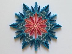 Snowflake Blue Pink Christmas Tree Decoration Winter Ornaments Gifts Toppers Fillers Office Corporate Paper Quilling Quilled Handmade Art This is unique handmade quilled snowflake. Amazing Christmas gift for Your loved ones and suitable for all winter occasions. You can hang it on
