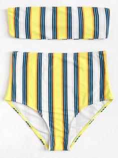 Bikini a vita alta a righe Costumi Da Bagno Per Ragazze c6d13382900