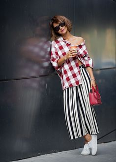 gingham shirt outfit, striped culottes, mix of prints, how to mix prints,
