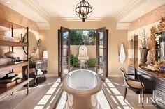 Contemporary Cream Master Bath Tub