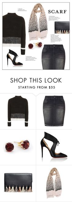 """""""Scarf"""" by frenchfriesblackmg ❤ liked on Polyvore featuring Topshop, Miss Selfridge, Christian Louboutin, Rebecca Minkoff and Twin-Set"""