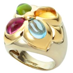 BULGARI Multicolor Cabochon Gemstone Two-Tone 18K Gold Ring