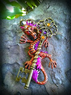 Orange Eastern Dragon Fantasy Key by ArtbyStarlaMoore on Etsy, $20.00