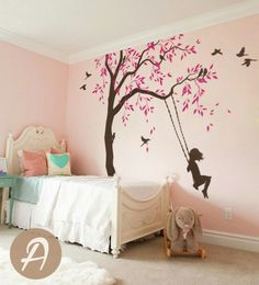Tree decal with swings and birds Large nursery tree vinyl wall art Wall Mural sticker Kids room decor Nature Tree wall tattoo - Tree decal with swings and birds Large by TheAmeliaDesigns - Tree Wall Art, Vinyl Wall Decals, Wall Stickers, Wall Painting Decor, Wall Decor, How To Hang Wallpaper, Hanging Wallpaper, Bird Wallpaper, Interior Wallpaper