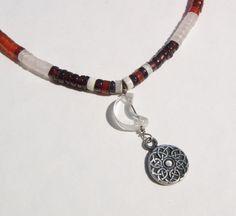 Moon Celtic Knot Heishi Choker Carnelian and Garnet Gemstones, via Etsy.