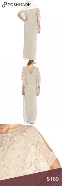Aidan Mattox embelished flutter sleeve gown Aidan Mattox dress with beautiful beaded fabric It's brand new with tags.  Perfect to wear at a wedding or special occasion. V back  Bateau neckline  3/4 flutter sleeves Back invisible zipper Full length  color: light gold style 054472530 msrp $440 100% polyester size 8 .... Aidan Mattox Dresses