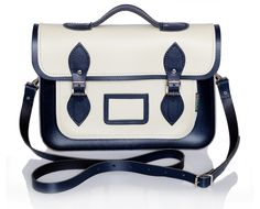 Cream and Navy Leather Satchel