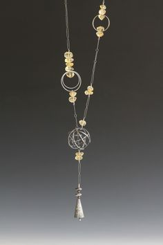 Oxidized Silver Necklace with faceted citrine nuggets. debfanelli.com