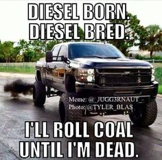 Diesel born, diesel bred, I'll roll coal until I'm dead. Black Chevy Lifted... DuraMax, IH, Powerstroke, Cummins, CAT... let the coal roll, boys! :)