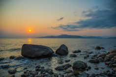 Stones in water by Mengqiu Chen on Shutter Speed, Natural World, Chen, Wildlife, Stones, Celestial, Sunset, Water, Outdoor