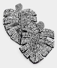 Leaf Earrings, Dangle Earrings, Heart Shaped Earrings, Circle Necklace, Tropical Leaves, Instagram Shop, Beautiful Necklaces, Statement Earrings, Heart Shapes