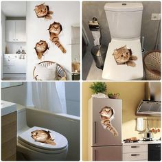 Cats Toilet Stickers Wall Sticker Hole View Vivid Dogs Bathroom Home Decoration Animal Vinyl Decals Art Sticker Wall Poster