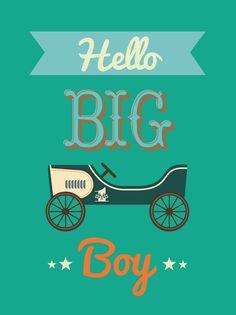 Poster Hello Big Boy  Poster Hello Big Boy met vintage speelgoed autoheeft een vintage feel. En past op elke hippe baby- of kinderkamer.Een Ribba lijst van IKEA erom en...