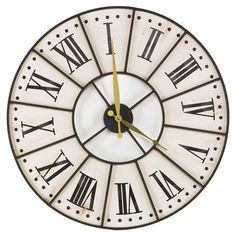 Add sophisticated appeal to your home library or kitchen with this classic wall clock, featuring a Roman numeral dial and Art Deco-inspired design.   ...
