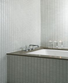 Ann Sacks Savoy 1 X 4 Stacked Ceramic Mosaic In Cottonwood