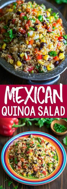 This healthy Mexican Quinoa Salad is a quick, easy, and gloriously make-ahead dish! Tossed in a speedy homemade chili lime dressing, this fiesta quinoa bowl is full of flavor! salad Mexican Quinoa Salad with Chili Lime Dressing - Peas And Crayons Mexican Quinoa Salad, Mexican Salads, Vegetarian Mexican, Quinoa Salad Recipes, Mexican Food Recipes, Vegetarian Recipes, Healthy Recipes, Healthy Drinks, Cooking Recipes
