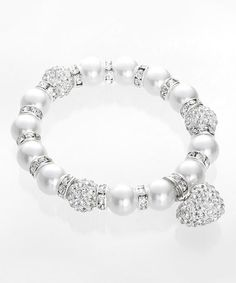 Another great find on #zulily! Crystal & Faux Pearl Beaded Stretch Bracelet #zulilyfinds