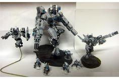 Broadsides, Crisis Battlesuit, Painted, Pathfinders, Riptide, Tau, Warhammer 40,000