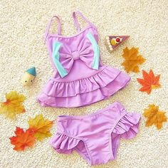Sweet Little Girls Bowknot Ruffle 2-3PC Swimsuit Set Ages 1-6Y 2 Colors