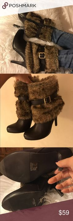 Forever 21 furry babies These are like pretty new I only wore them a few times and are still in great condition. Shoes Heeled Boots