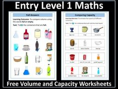 Volume and Capacity Worksheets Entry Level 1 Maths Math Fractions, Maths, Capacity Worksheets, Volume And Capacity, Math Workbook, Powerpoint Lesson, Certificate Of Achievement, Aqa, Free Math