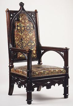 Joseph-Pierre-François Jeanselme and firm of Jacques-Michel Dulud: Armchair (1995.164) The original leather upholstery has a pressed design showing a pattern of flowering scrolls in red, rust, gold and black (originally green); the outer back is covered with a gold-colored silk glued over green serge.