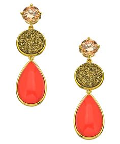 Andara Druzy And Coral Pear Drop Earrings    wow...I am so wanting these! lol