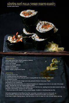 kinpira (burdock and carrot) nori rolls (vegan macrobiotic sushi)