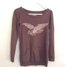 Boat neck sweatshirt Love Child Brown Boat Neck Sweatshirt. Has hand pocket at front. Gently used and in great condition. Size S. Love Child Sweaters