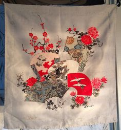 A Fukusa is a square precious cloth, usually satin or silk used as a cover over a boxed gift at an important event or ceremony. The gift can also be wrapped in the fabric for presentation, as well, as, used to purify objects during the Japanese Tea Ceremony.  This Antique hand painted and dyed Fukusa, is probably from the 1920s or before, although there are a couple of stains near the perimeter, its still in great condition considering its about 100 years old.  Its made of crepe silk with…