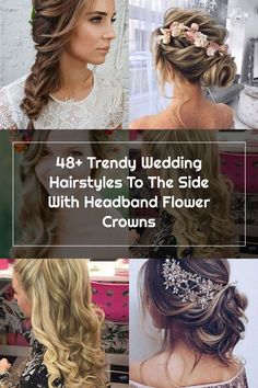 48+ Trendy Wedding Hairstyles To The Side With Headband Flower Crowns Side Hairstyles, Wedding Hairstyles, Wedding Hair Side, Flower Crowns, Trendy Wedding, Crochet Necklace, Hair Styles, Flowers, Fashion