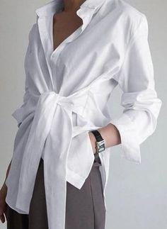 Women Plain Button Down Shirt Ladies Casual Asymmetrical Tunic Solid Blouse Tops Paris Chic, Mode Abaya, Shirt Bluse, Mode Chic, Collar Blouse, Wrap Blouse, Long Blouse, Black Blouse, Blouse Styles