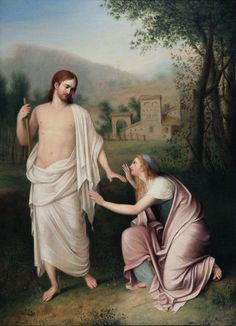 Mary Magdalene & Jesus ('Noli me tangere') – by Gaspare Landi Catholic Art, Religious Art, Santa Maria, Mary Magdalene And Jesus, Romanticism Artists, Noli Me Tangere, Baroque Painting, Jesus Christ Superstar, Religion