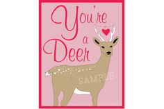 Valentines  Deer Printable School Valentine by LittleAndTheGirl, $6.00