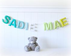 Personalized felt name banner - name garland  - ombre blue wall art - Nursery decor - MADE TO ORDER by LullabyMobiles on Etsy