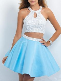 Beautiful 2015 Sexy Homecoming Dresses Halter Open Back Sweet Sixteen Dress Short Two Pieces Prom Party Gowns With Beads Taffeta Party Dress