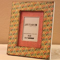 5x7 Matted Photo Frame- Decoupaged Little Flowers. $27.00, via Etsy.