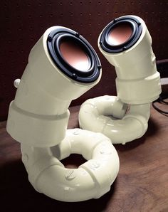 If you're looking for distinctive-looking speakers, you shouldn't look any further than these ones. They were handmade by an audiophile and are available on Etsy for purchase. However, you could also try and make your own PVC pipe speakers.
