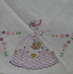 Vintage Art Deco Crinoline Lady and Flower Garland Embroidered Tablecloth
