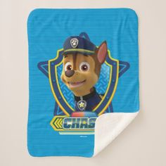 PAW Patrol | Chase - My Nose Knows! Sherpa Blanket - dog puppy dogs doggy pup hound love pet best friend