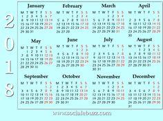 2018 Calendar Printable Template  http://socialebuzz.com/2018-calendar-printable-template/