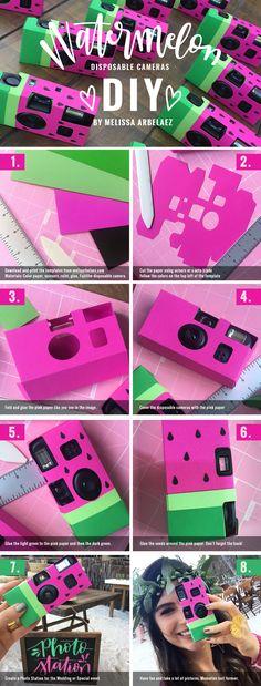 Disposable Film Camera, Paper Camera, Camera Cover, Diy Paper, Special Events, Cameras, Watermelon, Templates, Random