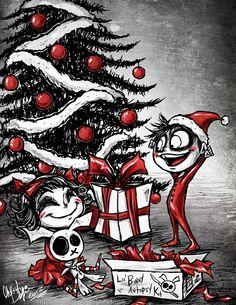 """Creepy Little Christmas"" by Lithium-Tears @ deviantart 🎅 🎄 Merry Christmas, Dark Christmas, Christmas Town, Little Christmas, Xmas, Christmas Ideas, Fete Halloween, Halloween Christmas, Creepy Cute"
