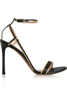 Valentino|Metallic-trimmed leather sandals(=)