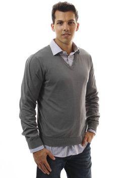 Noble Mount Men's 100% Cotton V-Neck Sweater - Brown/Grey/Navy - List price: $39.99 Price: $24.99 Saving: $15.00 (38%)