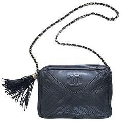 d2f85c4ee044cc Vintage CHANEL Black Leather Chevron Quilted Stripe Shoulder Bag 80s  Crossbody